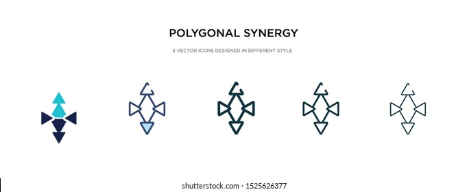 polygonal synergy shapes icon in different style vector illustration. two colored and black polygonal synergy shapes vector icons designed in filled, outline, line and stroke style can be used for