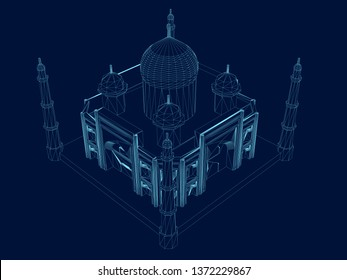 Polygonal Taj Mahal wireframe. Isometric view. An ancient building of blue lines on a dark background. Vector illustration