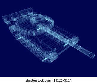 Polygonal tank wireframe on a dark background. Isolated polygonal tank of blue lines. 3D. Vector illustration.