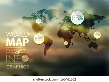 Polygonal transparent  World Map and Information Graphics. World Map and typography
