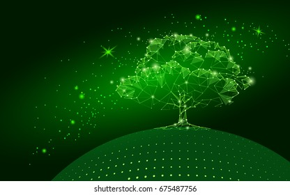Polygonal tree on dark green sky background. Abstract Earth eco globe concept. Connected dot line point art life root vector illustration