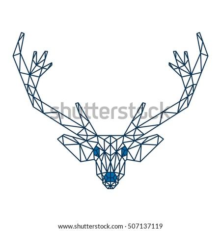 Reindeer Head Template   Polygonal Triangle Reindeer Head Line Polygon Stock Vector Royalty