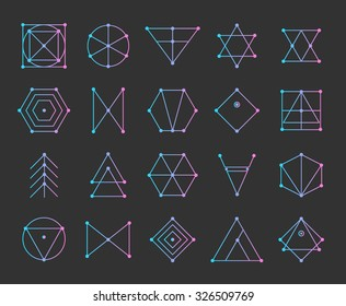 Polygonal triangles, hipster cosmic logo, space icon.
