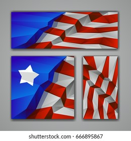 Polygonal USA flag banners set. Low poly Independence day background for card, poster and flyer.