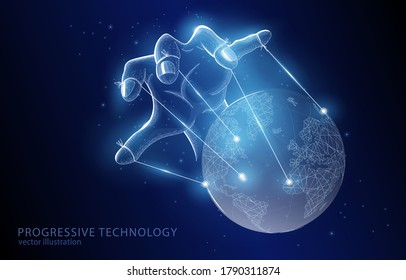 Polygonal vector 3d illustration concept of a hand governing our entire planet, on a dark blue background, a symbol of business, finances and   conspiracy theories.