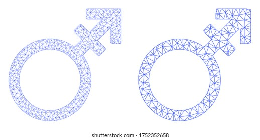 Polygonal vector alternate gender symbol icon. Mesh carcass alternate gender symbol image in lowpoly style with combined triangles, dots and linear items.