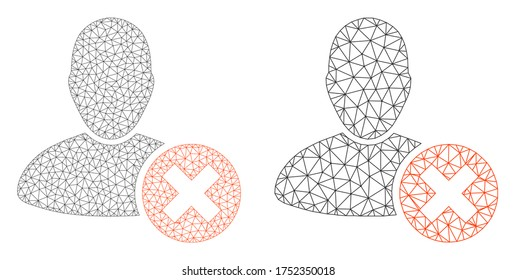 Polygonal vector delete user icon. Mesh carcass delete user image in low poly style with combined triangles, dots and linear items. Mesh concept of triangulated delete user, on a white background.