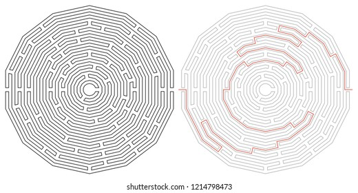 Polygonal vector labyrinth with entry and exit. Maze game illustration
