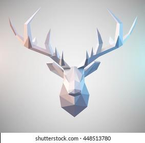 Polygonal vector low poly deer illustration Stag graphic element for designs. 3d paper fold design effect.