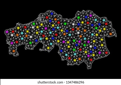Polygonal vector map of North Brabant Province with glow effect on a black background. Abstract triangles, lines, light colorful spots, nodes forms map of North Brabant Province. White mesh,