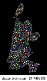 Polygonal vector map of North Holland with glare effect on a black background. Abstract triangles, lines, light colorful spots, points forms map of North Holland. White mesh,