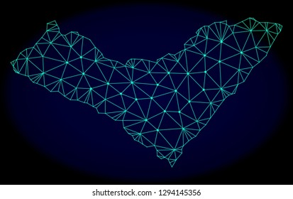 Polygonal vector mesh map of Alagoas State. Connected lines, triangles and points forms abstract map of Alagoas State. Wire frame 2D polygonal line network on a dark blue background.