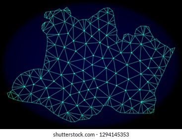 Polygonal vector mesh map of Amazonas State. Connected lines, triangles and points forms abstract map of Amazonas State. Wire frame 2D polygonal line network on a dark blue background.