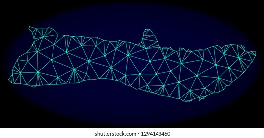 Polygonal vector mesh map of Molokai Island. Connected lines, triangles and points forms abstract map of Molokai Island. Wire frame 2D polygonal line network on a dark blue background.