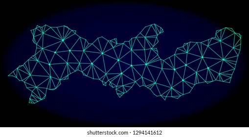 Polygonal vector mesh map of Pernambuco State. Connected lines, triangles and points forms abstract map of Pernambuco State. Wire frame 2D polygonal line network on a dark blue background.