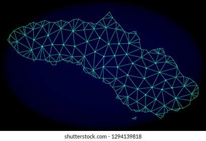 Polygonal vector mesh map of Sumba Island. Connected lines, triangles and points forms abstract map of Sumba Island. Wire frame 2D polygonal line network on a dark blue background.