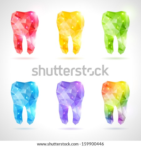 Polygonal Vector Set Teeth Rainbow Abstract Stock Vector Royalty