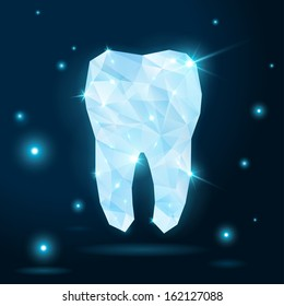 Polygonal white tooth on dark background. Vector illustration. Dental abstract backdrop in origami low-poly colorful style.