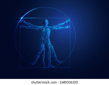 polygonal wireframe Vitruvian man with futuristic element