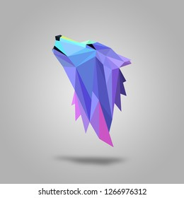 Polygonal wolf head design