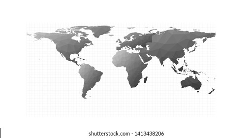 Polygonal world map. Equirectangular projection. Awesome vector illustration.