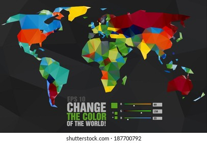 Polygonal world map on dark background