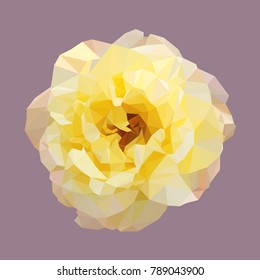 polygonal yellow rose, isolated polygon vector flower