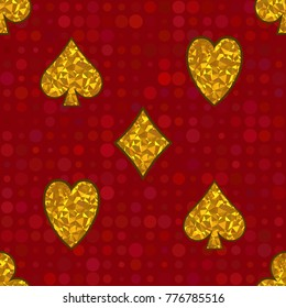 Polygonal yellow symbols of playing cards on red background. Vector Seamless Pattern.