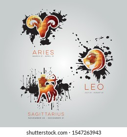 Polygonal zodiac signs. Geometric astrological icons. Colored esoteric background