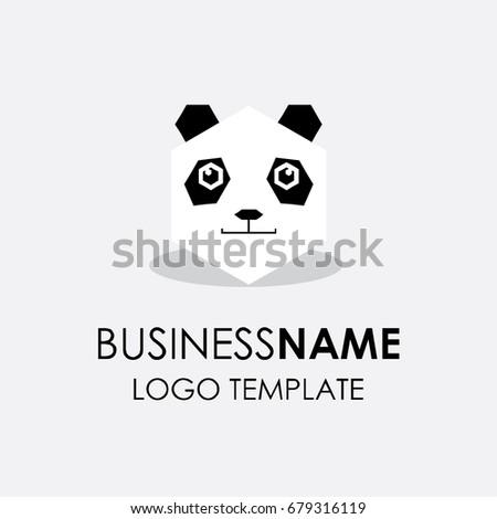 polygonic panda bear silhouette logo design stock vector royalty
