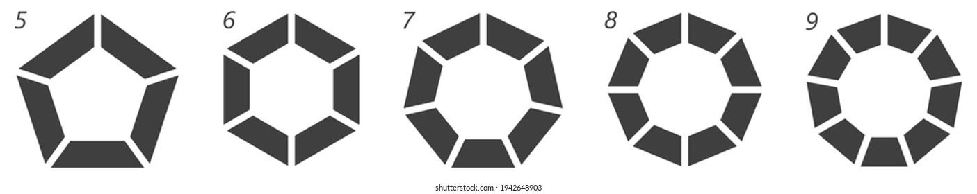 Polygons with different number of edges separated into equal parts segments - simple infographics or logo element