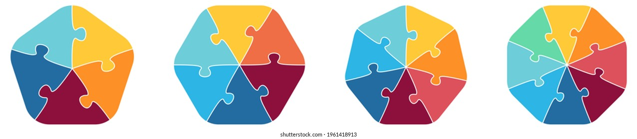 Polygons with rounded corners, five to eight sides, divided into jigsaw puzzle pieces - simple infographics element