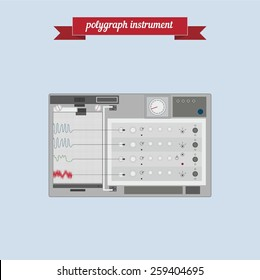 Polygraph instrument. Flat style design - vector