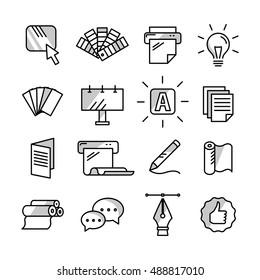 Polygraphy design print icon set. Graphic design, print studio black line sign collection. Vector illustration.