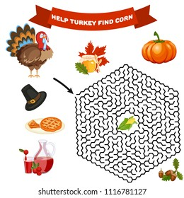 Polyhedron maze riddle game, find way your path. Help turkey find corn. Labyrinth rebus for kids vector illustration.
