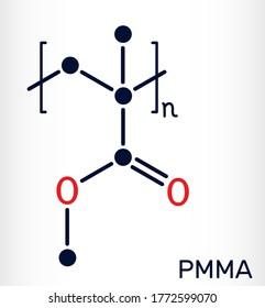 Poly(methyl methacrylate), acrylic glass, plexiglass, PMMA molecule. It is synthetic polymer of methyl methacrylate, is used for acrylic paint, latex, acrylic glass. Skeletal chemical formula. Vector