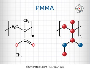 Poly(methyl methacrylate), acrylic glass, plexiglass, PMMA molecule. It is synthetic polymer of methyl methacrylate, is used for acrylic paint, latex, acrylic glass. Sheet of paper in a cage. Vector