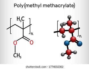 Poly(methyl methacrylate), acrylic glass, plexiglass, PMMA molecule. It is synthetic polymer of methyl methacrylate, is used for acrylic paint, latex, acrylic glass. Vector illustration