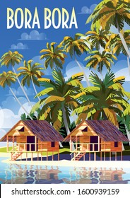 Polynesia Tropical Beach Landscape with traditional houses and palm trees. Handmade drawing vector illustration. Retro style Poster.