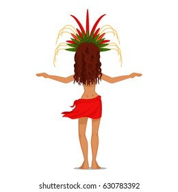 Polynesian female dancer in red pareo and headdress with leafs and feathers