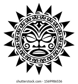 polynesian mandala tattoo shape tribal face pattern vector, maori ethnic sun pattern tattoo, vector isolated template, mandala sun maori style