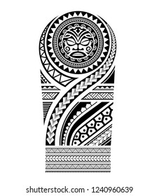 polynesian maori tattoo shape shoulder pattern tribal, ethnic samoan maori tiki, sleeve shoulder men arm ornate ornaments sketch vector