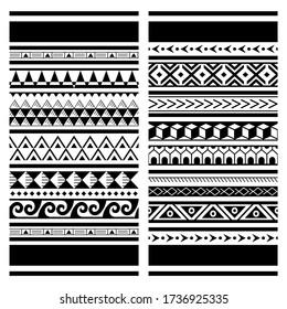 Polynesian Maori tattoo vector pattern, Hawaiian tribal design - two geometric repetitive textile patterns set. Traditional repetitive design with triangles, zig-zag, abstract shapes in black