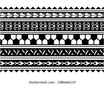 Polynesian pattern border tattoo sleeve vector, samoan sketch forearm and foot design, maori stencil bracelet armband tattoo tribal, lace band fabric template seamless ornament