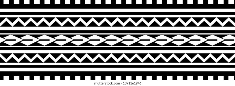 Polynesian pattern border tattoo sleeve vector, samoan sketch forearm and foot design, maori stencil bracelet armband tattoo tribal, fabric template seamless ornament isolated on white background