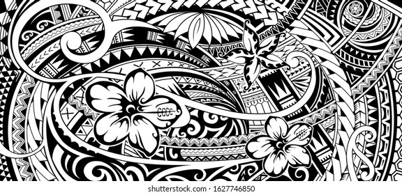 Polynesian pattern design with ethnic motives and floral elements.