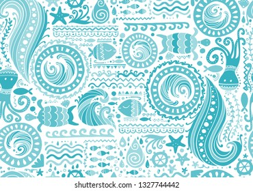Polynesian style marine background, tribal seamless pattern for your design