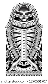 Polynesian style tattoo. Full sleeve ornament with Maori  and Samoan elements