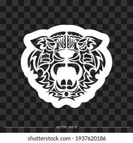 Polynesian style tiger face print. Vector illustration.