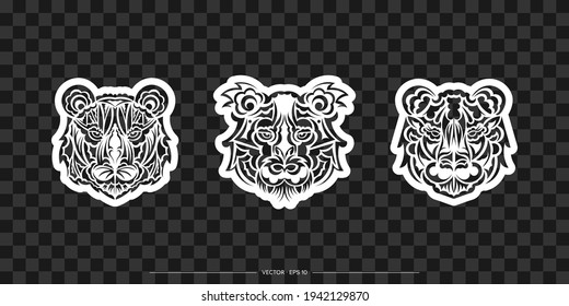 Polynesian style tiger print set. Boho tiger face. Good for clothing and textiles. Vector